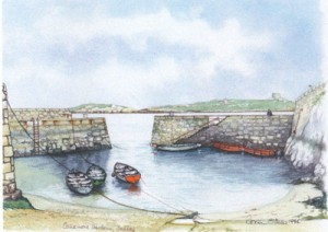 Painting by Róisín O'Shea (Coliemore Harbour)