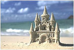 swimming and sand castles